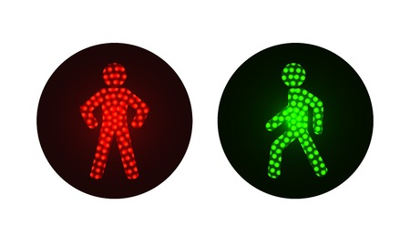 warning signs: pedestrian traffic lights red and green. Illustration on white background