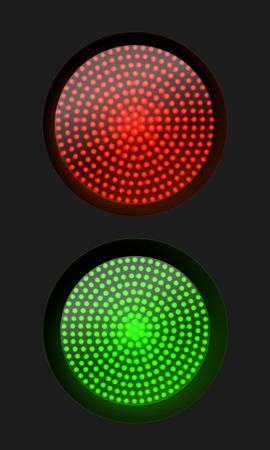 stop and go light: Traffic light red and green , vector illustration