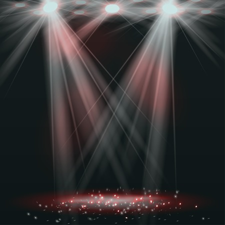Spotlights on stage with smoke & light. Vector illustration. Banco de Imagens - 37267184