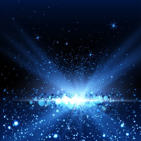 Blue spotlight background. Vector illustration