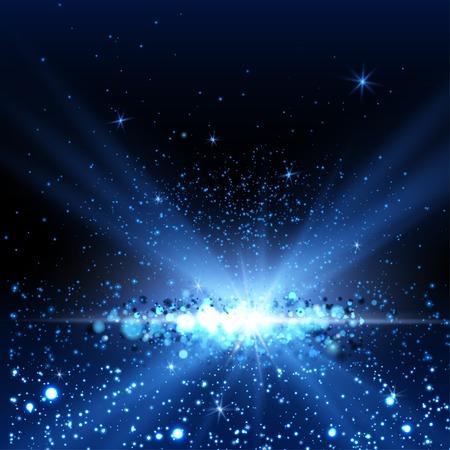 Blue spotlight background. Vector illustration