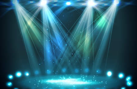 entertainment event: Stage spotlights blue . Vector illustration