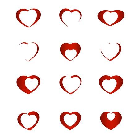 Set of symbol heart, vector