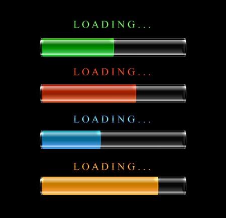 Four modern preloaders or progress loading bars. Vector illustration. Vector