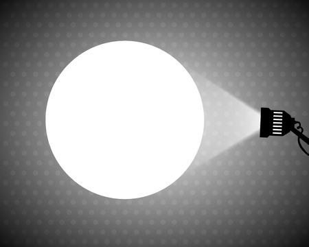 Spotlight projecting to blank wall vector Vector