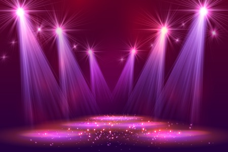 Spotlights on stage with smoke  light. Vector illustration. Stock Illustratie