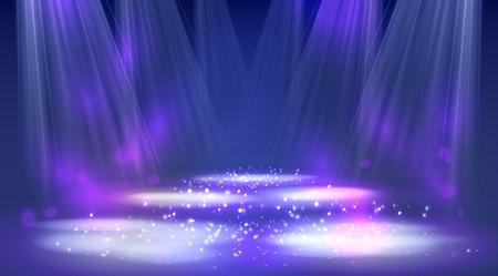Stage spotlights blue . Vector illustration eps 10 Vectores