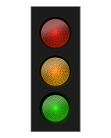 traffic signal: Semáforo rojo amarillo y verde, ilustración vectorial
