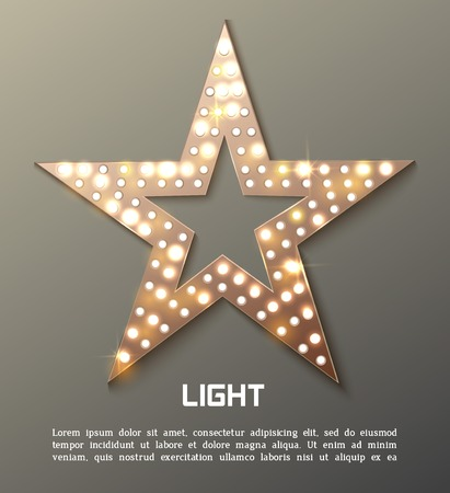 hollywood movie: Star retro light banner. Vector illustration Illustration