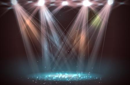 Spotlights on stage with smoke & light. Vector illustration.