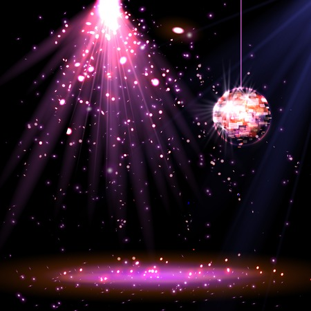 contemporary dance: Disco ball background with light, vector eps 10