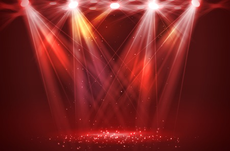 empty stage: Spotlights on stage with smoke & light. Vector illustration.