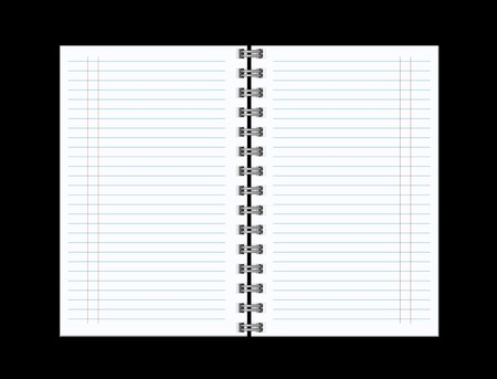 spiral notebook: Open notebook with white page  on black background  vector illustration Illustration