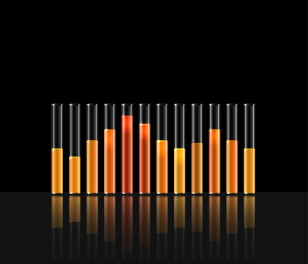 equaliser: illustration of music in transparent equaliser bar in black background