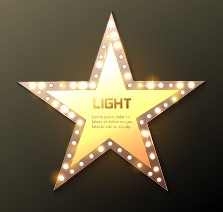 Star retro light banner. Vector illustration
