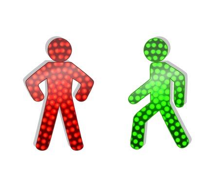señales trafico: el tránsito de peatones se enciende en rojo y verde. Ilustración sobre fondo blanco Vectores