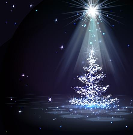 스포트 라이트 매직 크리스마스 트리 일러스트