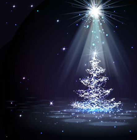 The Magic Christmas Tree in spotlight  Vectores