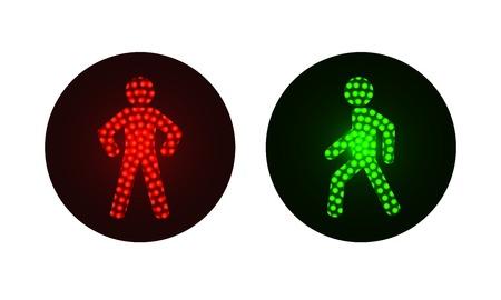 semaforo peatonal: el tránsito de peatones se enciende en rojo y verde. Ilustración sobre fondo blanco Vectores
