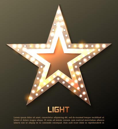 ESTRELLA: Bandera de la estrella de luz retro. Ilustración vectorial Vectores
