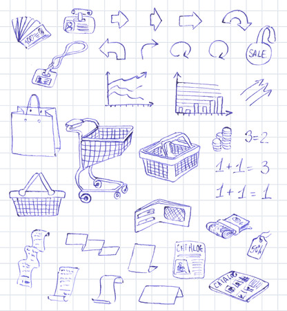supermarket services: Set hand draw pictogram supermarket services, Shopping Icons