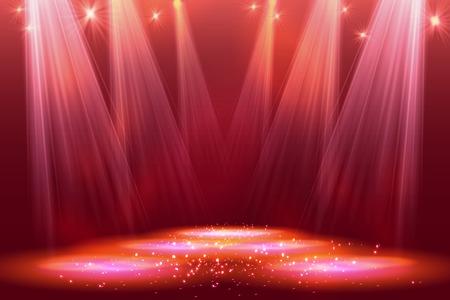 Schijnwerpers op het podium met rook licht. Vector illustratie. eps 10 Stock Illustratie