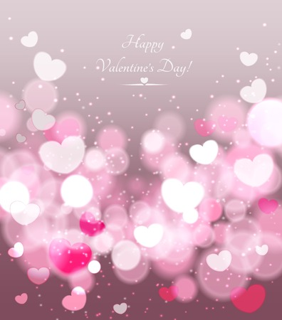 ornamental background: Happy Valentines Day celebration greeting card decorated with pink heart