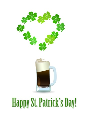 17: St. Patricks Day heart of green shamrock and  glass of beer