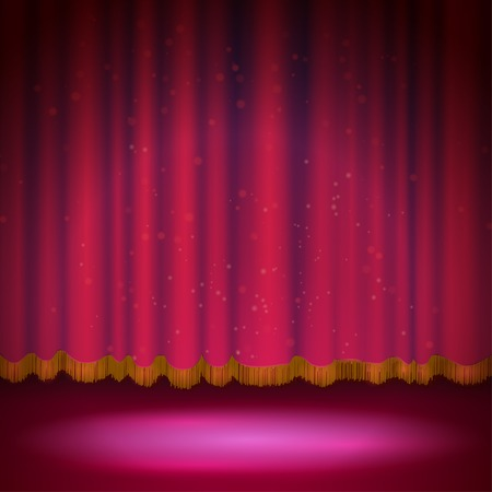 rideau sc�ne: Pleins feux sur le rideau de sc�ne rouge. Vector illustration.