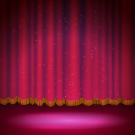 b�hnenvorhang: Scheinwerfer auf roten B�hnenvorhang. Vektor-Illustration.