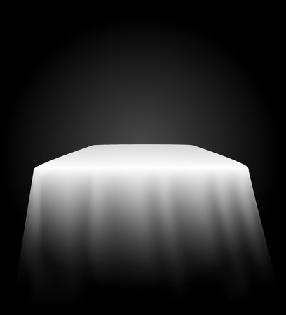 tablecloth: table with tablecloth on black background vector