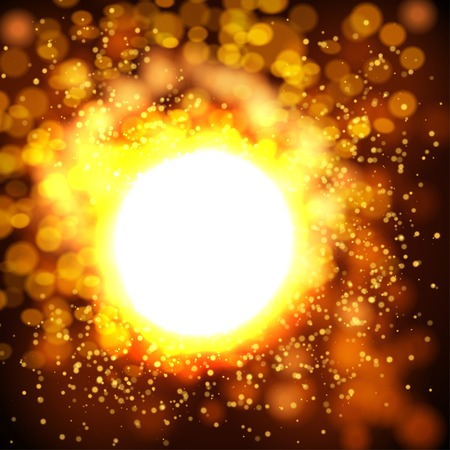 sun light: Explosion bokeh gold background . Vector illustration Illustration