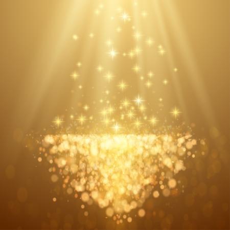Lichten op gele achtergrond bokeh effect. Vector EPS-10
