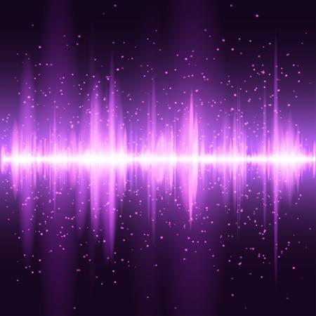 analyzer: Digital magenta light Equalizer background. Vector illustration