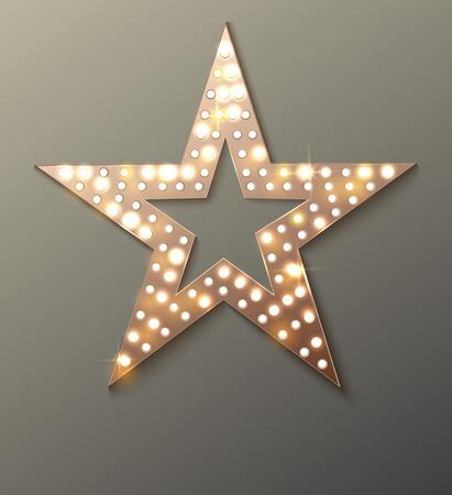 Star retro light banner. Vector illustration  イラスト・ベクター素材