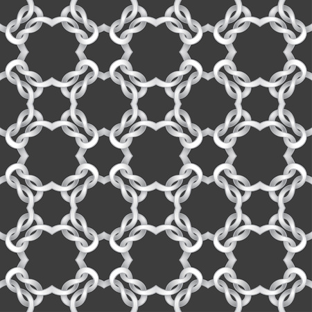 cable tangle: White net on black background. seamless pattern Vector illustration