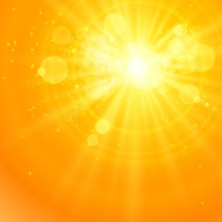 luz do sol: Brilhante sol do vetor, raios de sol, raios solares, bokeh e espaço para seu texto Ilustração