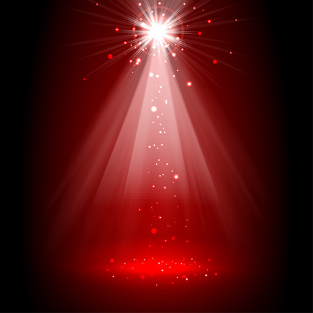 Spotlight red on stage. vector Vectores