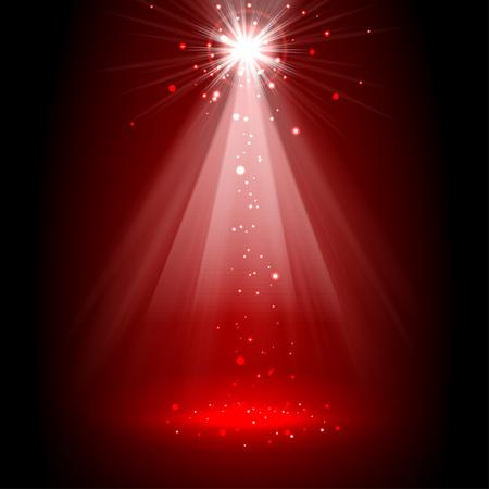 Spotlight red on stage. vector Illustration