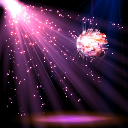 night: Disco ball background with light, vector