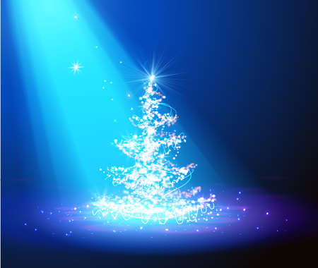 bright lights: Christmas tree with defocused lights. blue background vector