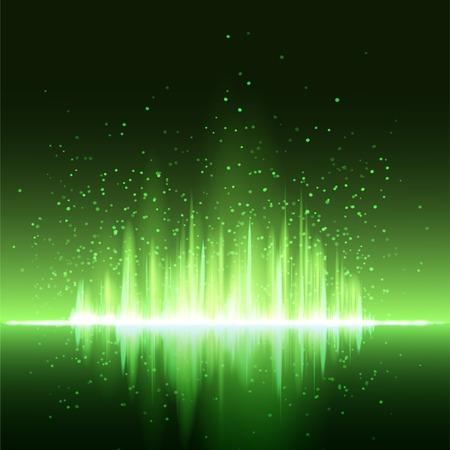 radio frequency: Digital green light Equalizer background. Vector illustration Illustration