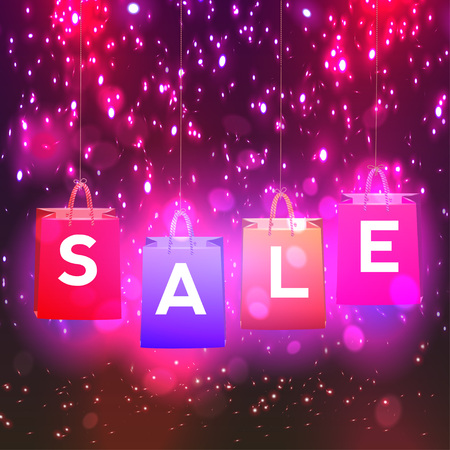 sell: Christmas sale lights background vector  eps 10