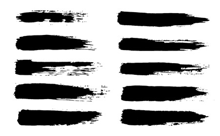 black grungy hand-painted abstract brush stroke Ilustração