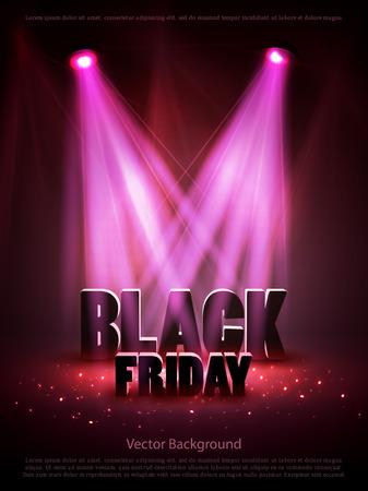 Black friday sale background with red lights. Vector illustration
