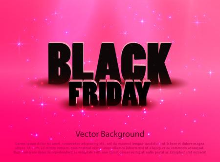 Black friday sale pink  background. Vector illustration