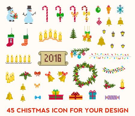 muerdago: Conjunto de iconos de estilo pixel de Navidad. ilustraci�n vectorial