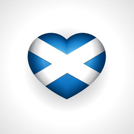 scottish flag: Scozia, il cuore con la bandiera scozzese, l'amore segno Vettoriali