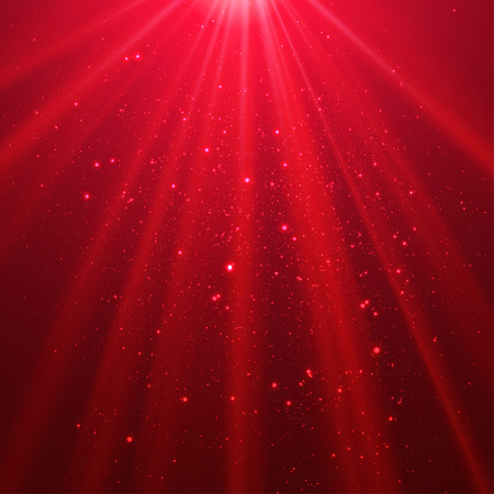 Red shining light top magic abstract vector background Illustration