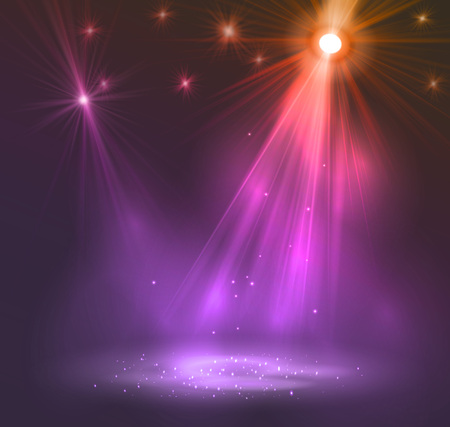 red carpet event: Spotlight on stage with smoke and   light. Vector illustration. Illustration